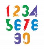 Calligraphic Brush Numbers, Hand-painted Bright Numeration.