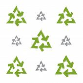 Set Of Hand-painted Recycle Signs Isolated On White Background, Collection Of Simple Recycle Icons C