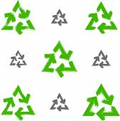 Set of hand-painted recycle signs isolated on white background, collection of simple recycle icons