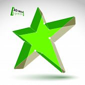 3d mesh green star sign isolated on white background, colorful elegant lattice superstar icon