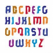 Handwritten Contemporary Vector Uppercase Letters, Doodle Hand-painted Alphabet, Capital Letters