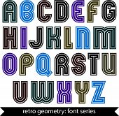Colorful regular stripy typescript, vector poster characters with straight lines only.