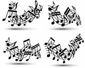 Vector black jolly wavy staves with musical notes on white background, decorative set of musical not