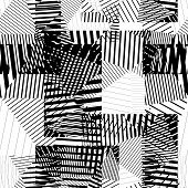 Black and white endless vector striped tiling, fashionable textured background.