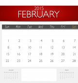 Simple 2015 calendar, February. Vector illustration.