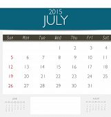 2015 calendar, monthly calendar template for July. Vector illustration.