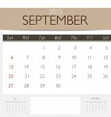 2015 calendar, monthly calendar template for September. Vector illustration.