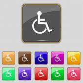 Disabled sign icon. Human on wheelchair symbol. Handicapped invalid sign. Set colourful buttons Vect