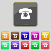Retro telephone web icon. Set colourful buttons. Vector