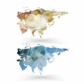 Eurasia map template, triangle design vector illustration