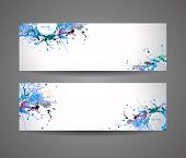 Banners of abstract spray paint. Watercolor background.