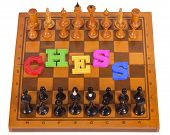 Chess Board With Figures With Plastic Letter