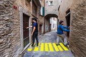 concept, crosswalks in the alley