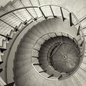 stock photo of spiral staircase  - Upside view of a spiral staircase angle shot - JPG