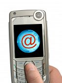 Mobile phone in hand, e-mail symbol and Earth on display, isolated