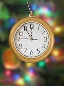 Merry Christmas! Clock (5 minutes to 12), xmas tree on background