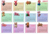 Calendar on 2007 year (magnetic pig for each month)