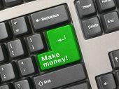 Keyboard - green key Make money, closeup