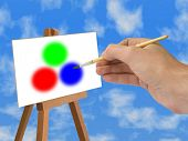 Red, Green, Blue (RGB model), hand with brush, sky