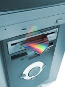 Fragment of compact disk in floppy drive