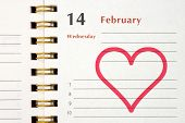 Pictured heart in notebook (Valentines day), closeup