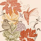 Floral Pattern In Vintage Style With Birds, Dragonfly And Foliage