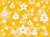 Christmas background, stars and trees on yellow