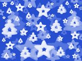 Christmas background, stars and trees on blue