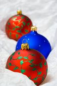 Christmas balls in wrapping paper, close-up