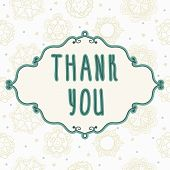 Thank You Card With Floral Elements. Vintage Background