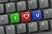 Computer keyboard with three love keys
