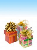 Three gifts, copyspace, isolated on white background