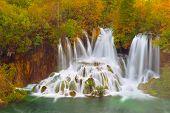 Autumn landscape background. Plitvice Lakes. Croatia.