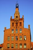 Brick facade of the building