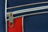 Zipper and pocket on bag, abstract background