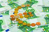 Euro coins and banknotes, abstract business background