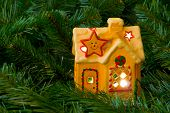Lighting house and christmas tree, abstract holiday background