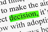 Word decision in text - concept business background