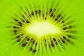 Macro of kiwi fruit - abstract food background