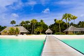 Beach bungalows on a tropical island - travel background