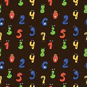 Seamless repeating pattern of fun colorful cartoon numbers.