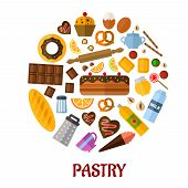 Pastry flat vector icons