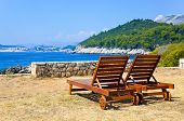 Longue on beach in Dubrovnik, Croatia  - abstract vacations background
