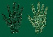 Hand prints with electrical circuit boards
