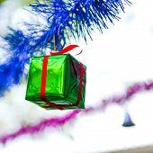 Closeup Green Gift Box