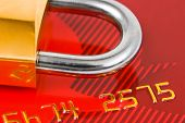 Lock and credit card - business security background