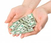 Hands with money isolated on white background