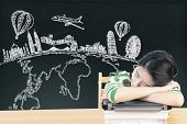 Asian Woman Dreaming And Thinking Travel Holidays On Blackboard