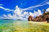 Beach Source d'Argent at island La Digue, Seychelles - nature background