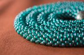 Necklace From Beads Of Color Aquamarine Close Up